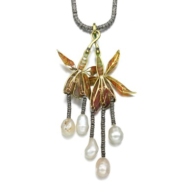 View 3. Thumbnail of Lot 3. Natural pearl, diamond and enamel pendant necklace, circa 1900.