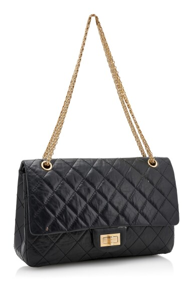 BLACK CRINKLED LEATHER AND GOLD-TONE METAL 2.55 REISSUE SHOULDER BAG, CHANEL