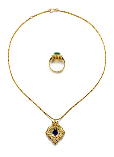 View 3. Thumbnail of Lot 9189.  EMERALD AND DIAMOND RING; AND SAPPHIRE AND DIAMOND PENDENT NECKLACE   祖母綠 配 鑽石 戒指; 及 藍寶石 配 鑽石 項鏈.