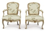 A PAIR OF LOUIS XV PARCEL GILT WHITE-PAINTED LOUIS FAUTEUILS BY TILLIARD, MID-18TH CENTURY