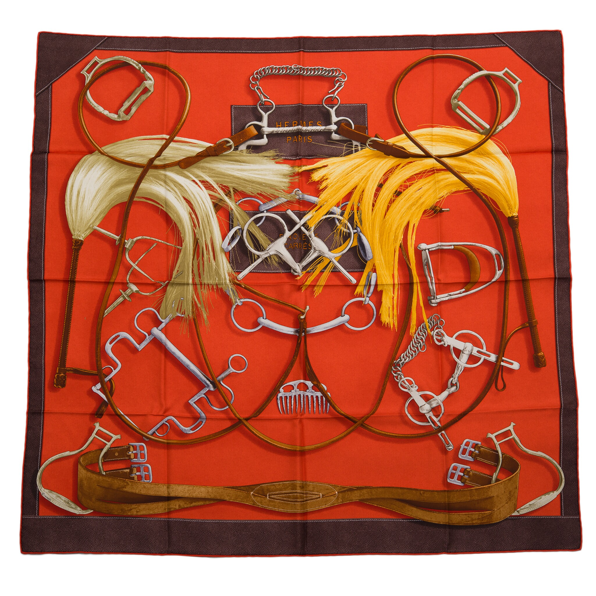 """View full screen - View 1 of Lot 144. Hermès """"Project Carres"""" Silk Twill Scarf 90cm."""