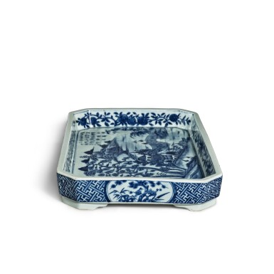 View 5. Thumbnail of Lot 80. A blue and white 'landscape' tray, Mark and period of Jiaqing | 清嘉慶 青花山水圖詩文長方倭角托盤 《大清嘉慶年製》款.