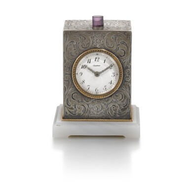 View 1. Thumbnail of Lot 701. SILVER QUARTER REPEATING DESK CLOCK EARLY 20TH CENTURY.