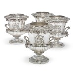A SET OF FOUR GEORGE III SILVER WINE COOLERS, BENJAMIN SMITH FOR RUNDELL, BRIDGE & RUNDELL, LONDON, 1807