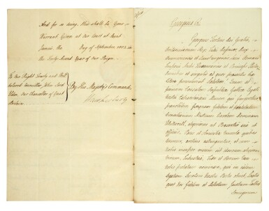 View 3. Thumbnail of Lot 48. GEORGE III | document signed, addressed to Lord High Chancellor Lord Eldon, 1802.