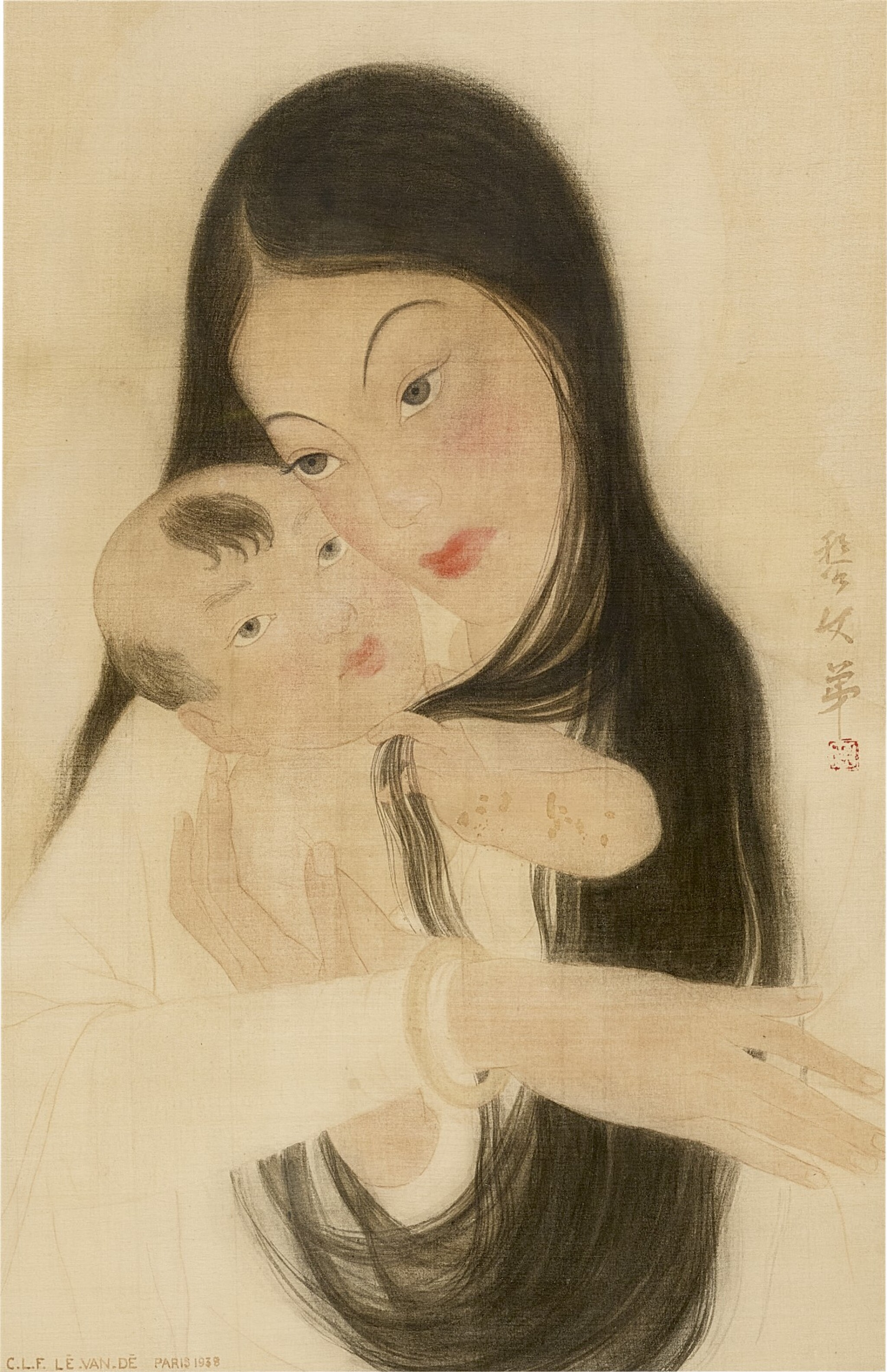View full screen - View 1 of Lot 232. LE VAN DE 黎文第   MOTHER AND CHILD 母子.