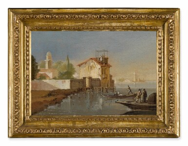 View 5. Thumbnail of Lot 103. View of a port, with fishermen coming to shore; A fisherman along a riverbank, a hillside town beyond.