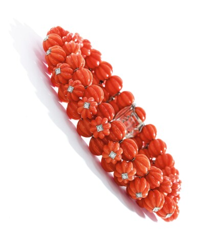 View 2. Thumbnail of Lot 44. CARTIER   CORAL AND DIAMOND BRACELET.