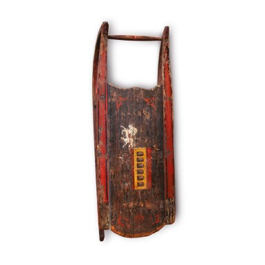 FINE CHILD'S BLACK AND POLYCHROME PAINT-DECORATED WOOD 'HORSE AND CARRIAGE' SLED, PARIS, MAINE, DATED 1883