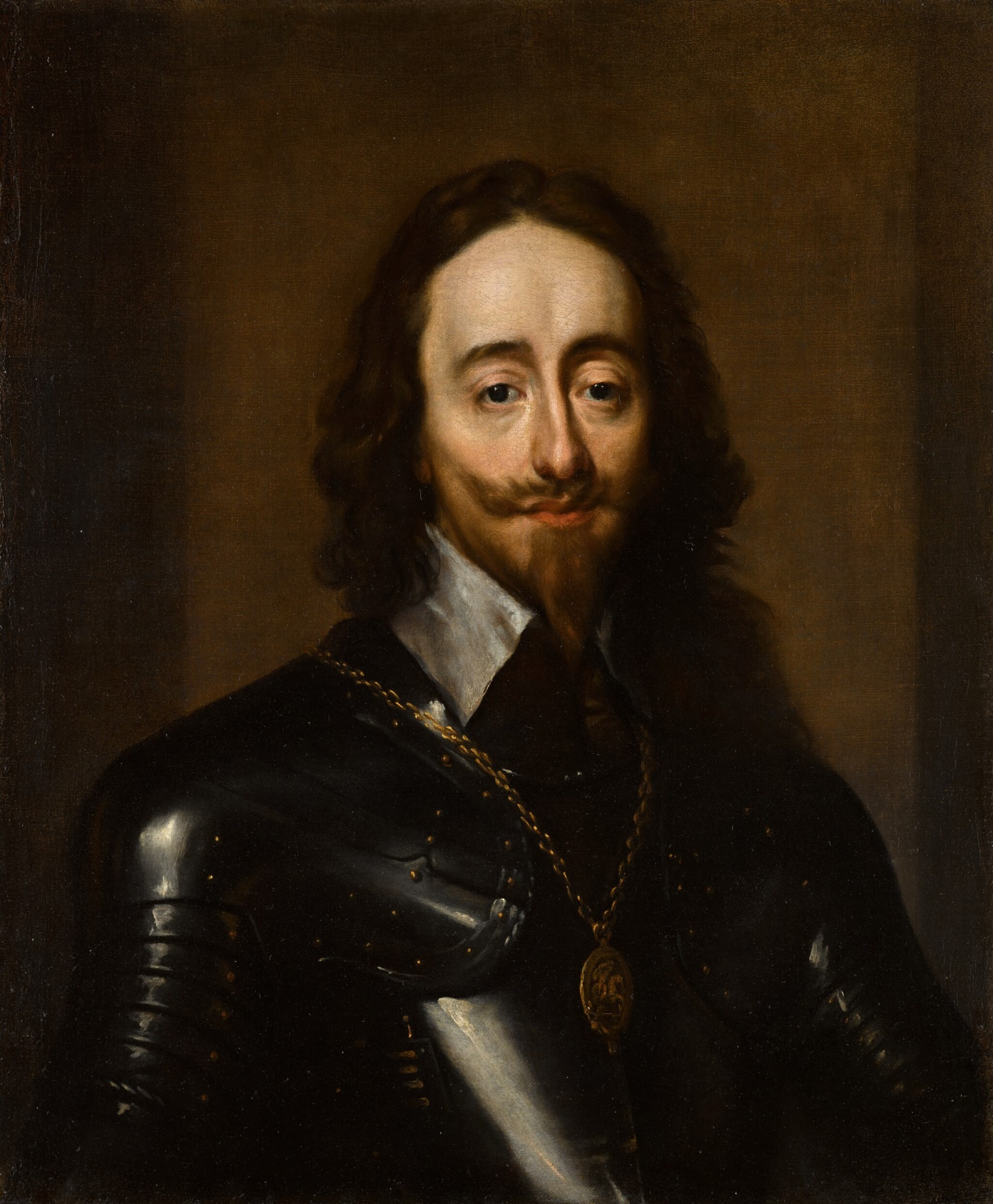 View full screen - View 1 of Lot 136. Portrait of King Charles I, half-length, wearing armour and the badge of the Order of the Garter.
