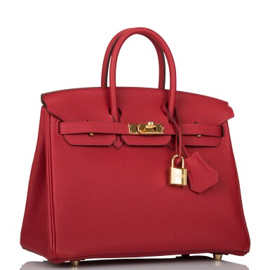 View 2. Thumbnail of Lot 21. HERMÈS   ROUGE VIF BIRKIN 25CM OF TOGO LEATHER WITH GOLD HARDWARE.