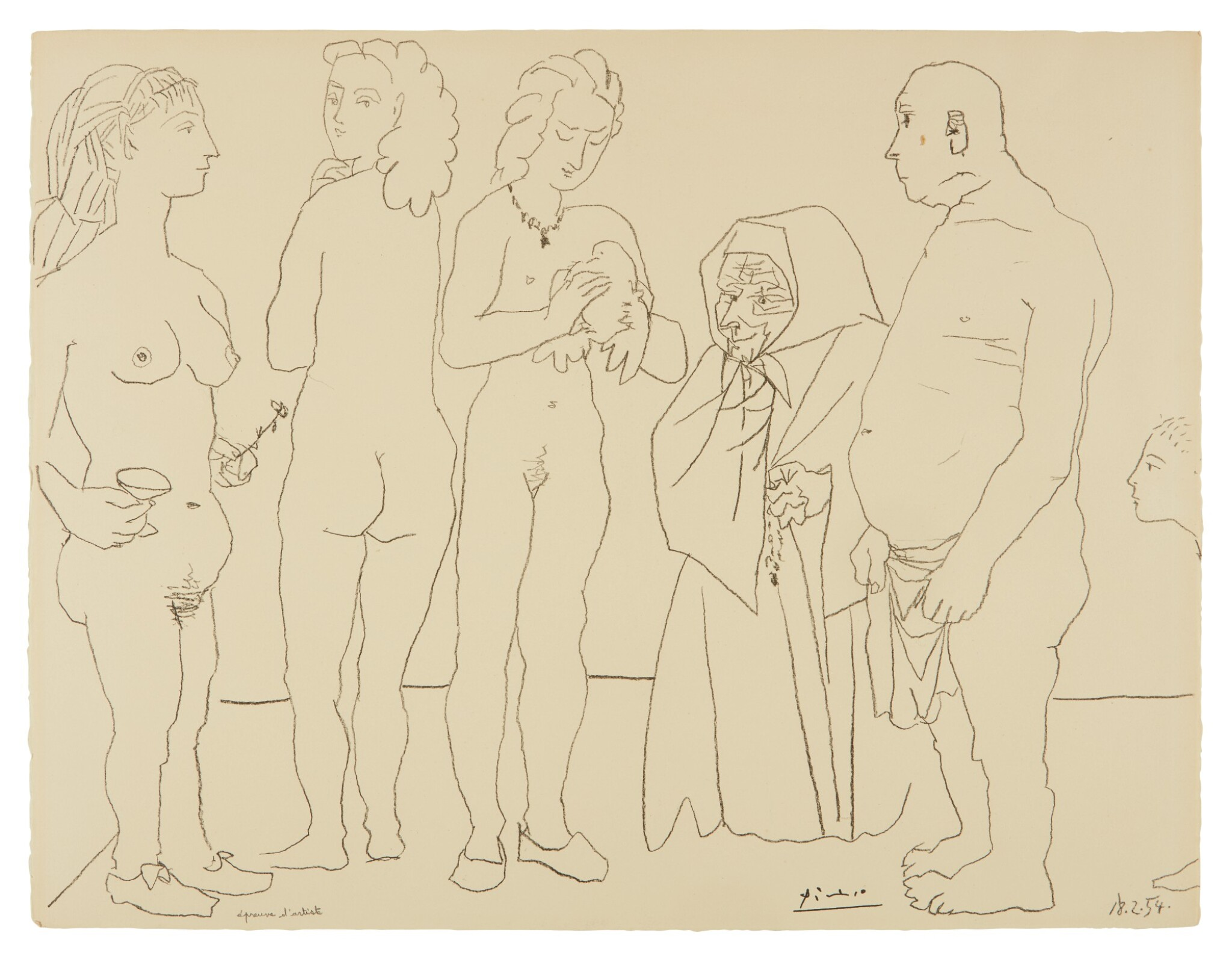 View full screen - View 1 of Lot 79. PABLO PICASSO   PERSONNAGES ET COLOMBE (B. 758; M. 254).