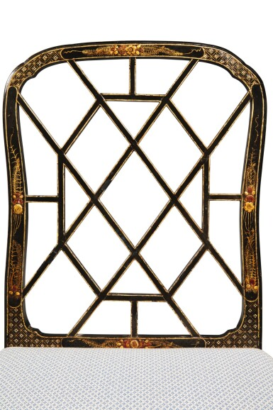 View 4. Thumbnail of Lot 4. A Set of Eight English Black and Gilt Japanned Dining Chairs, Late 19th Century.
