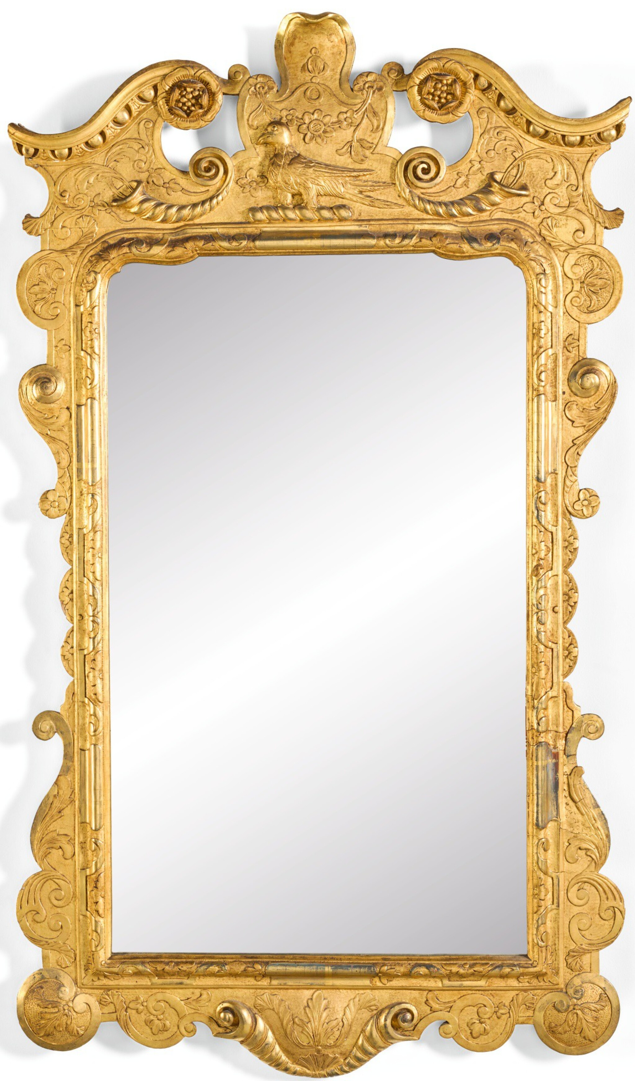 View full screen - View 1 of Lot 51. A PAIR OF IRISH GEORGE II GILTWOOD AND GILT-GESSO PIER GLASSES, CIRCA 1740.