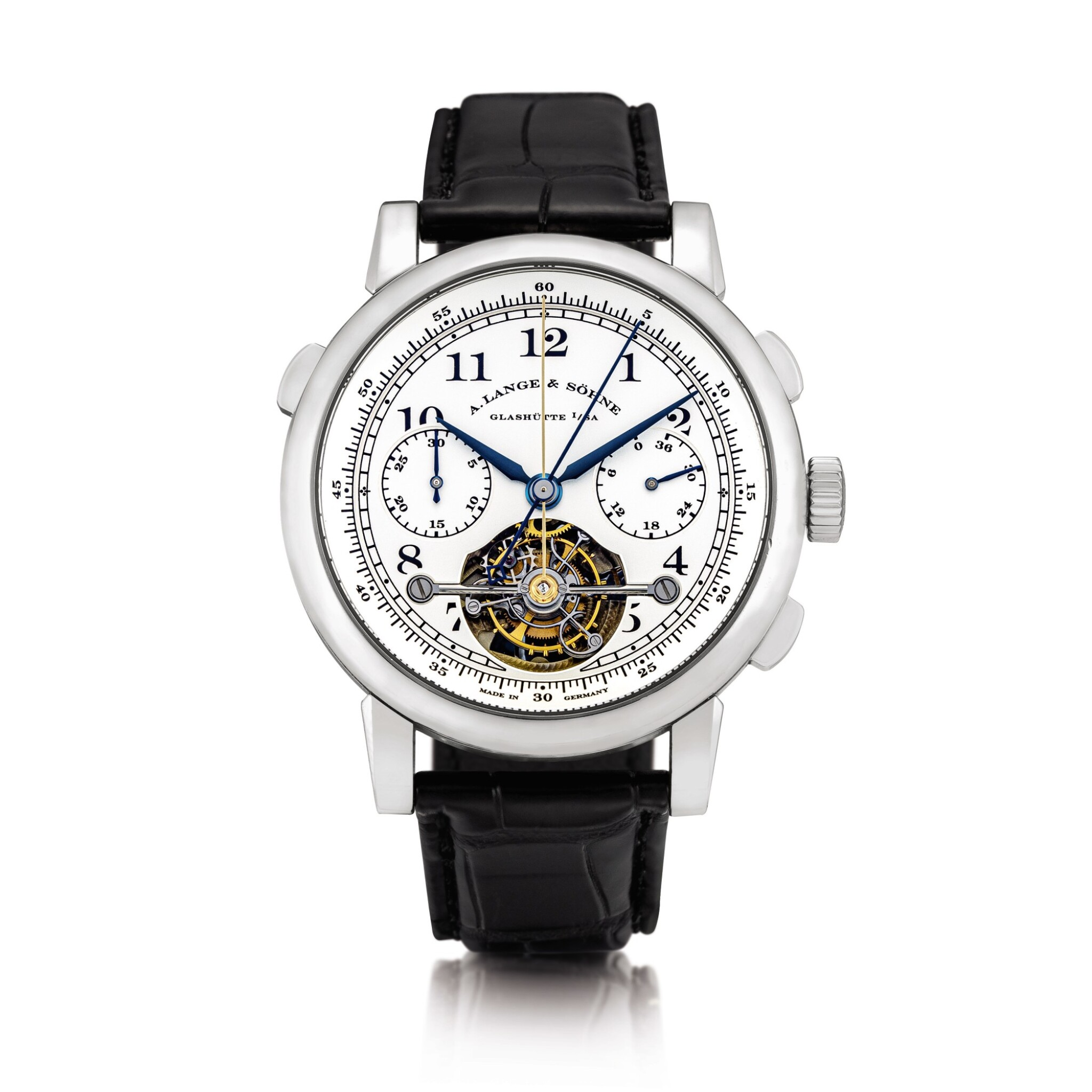 View full screen - View 1 of Lot 2025. A. Lange & Söhne | Tourbograph, A limited edition platinum tourbillon spilt seconds chronograph wristwatch with chain and fusée and power reserve indication, Circa 2006 | 朗格 | Tourbograph    限量版鉑金陀飛輪追針計時腕錶,備芝麻鏈及動力儲備顯示,約2006年製 .