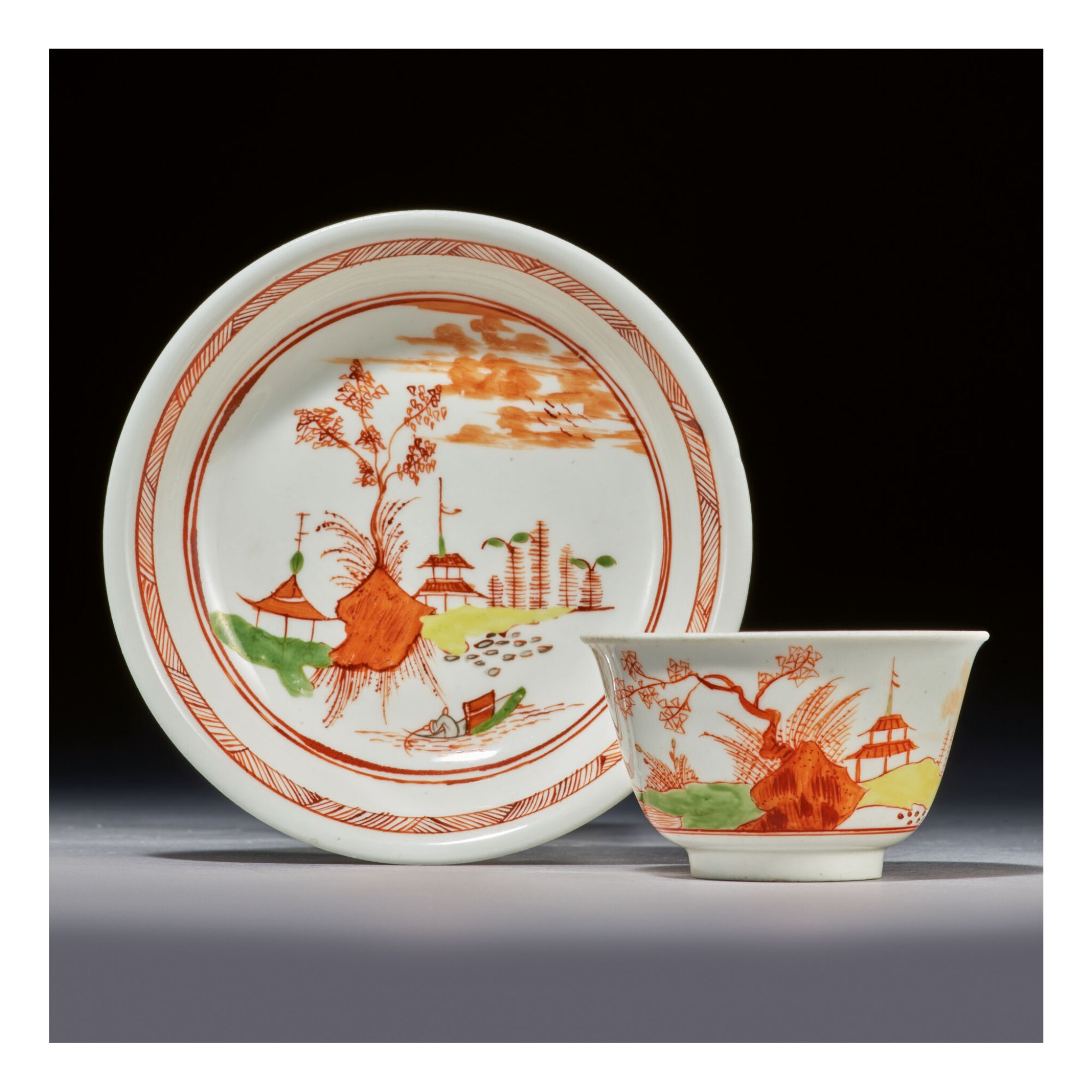 A RARE EARLY MEISSEN TEABOWL AND SAUCER CIRCA 1725