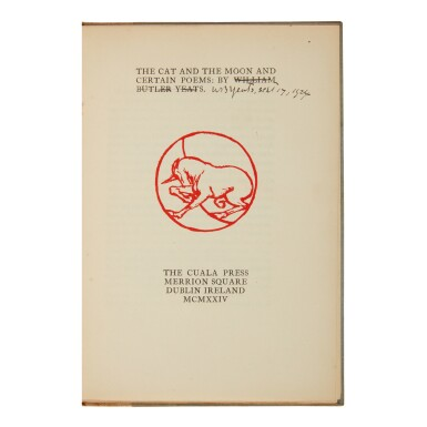YEATS, WILLIAM BUTLER | The Cat and the Moon and Certain Poems. Dundrum: The Cuala Press, 1924
