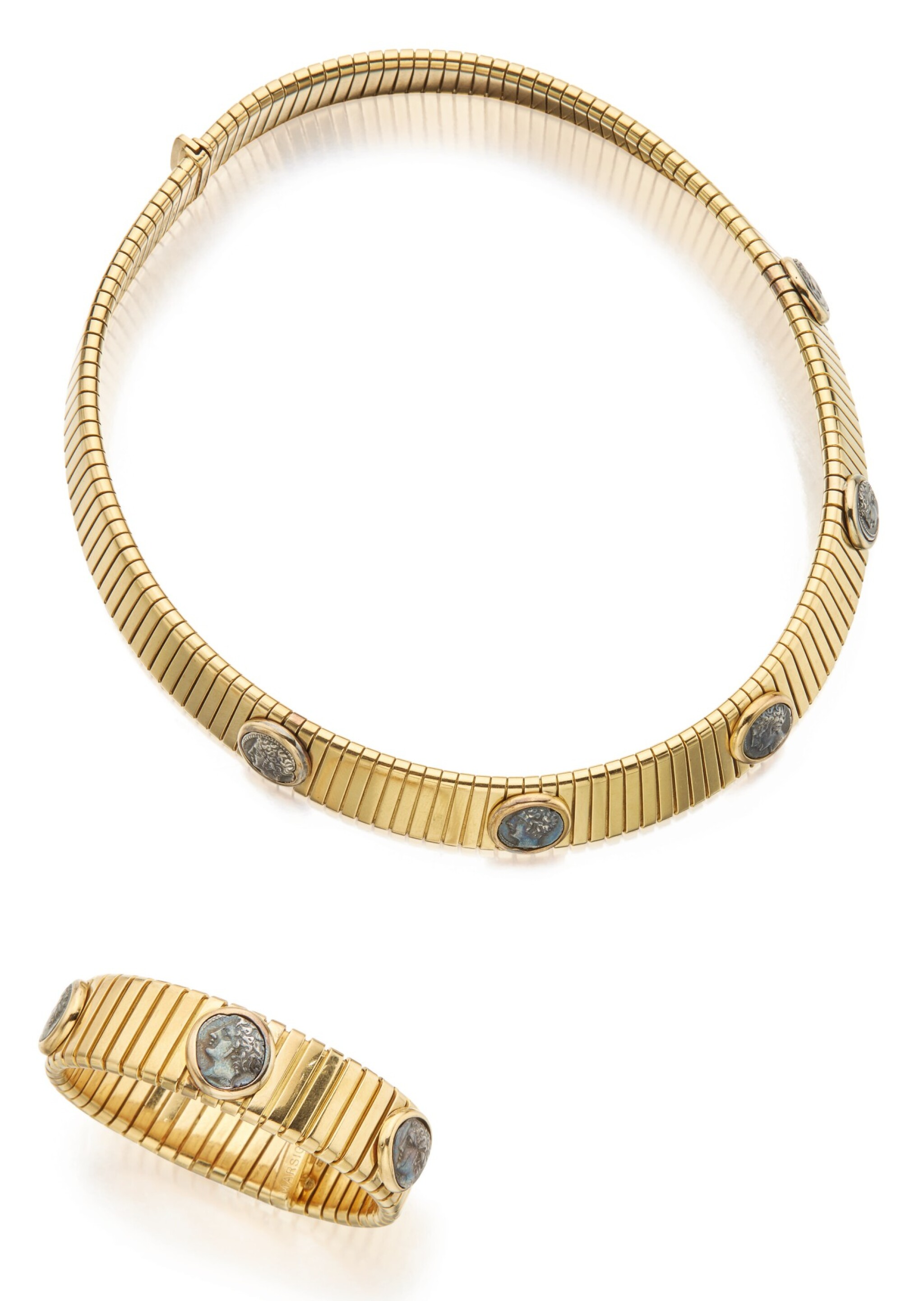 View 1 of Lot 310. GOLD AND ANCIENT COIN CHOKER-NECKLACE AND CUFF-BRACELET, BULGARI .