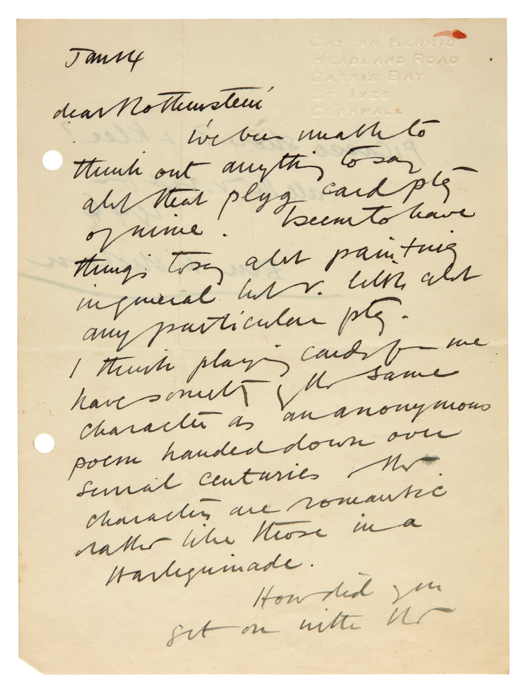 View full screen - View 1 of Lot 202. M. ROTHENSTEIN   archive of c.95 letters by artists and writers to Rothenstein, chiefly 1940s.