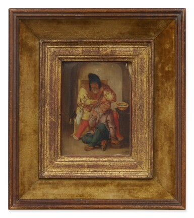 View 2. Thumbnail of Lot 51. Sold Without Reserve   17TH CENTURY FOLLOWER OF LUCAS VAN LEYDEN   A SURGEON WITH HIS PATIENT.