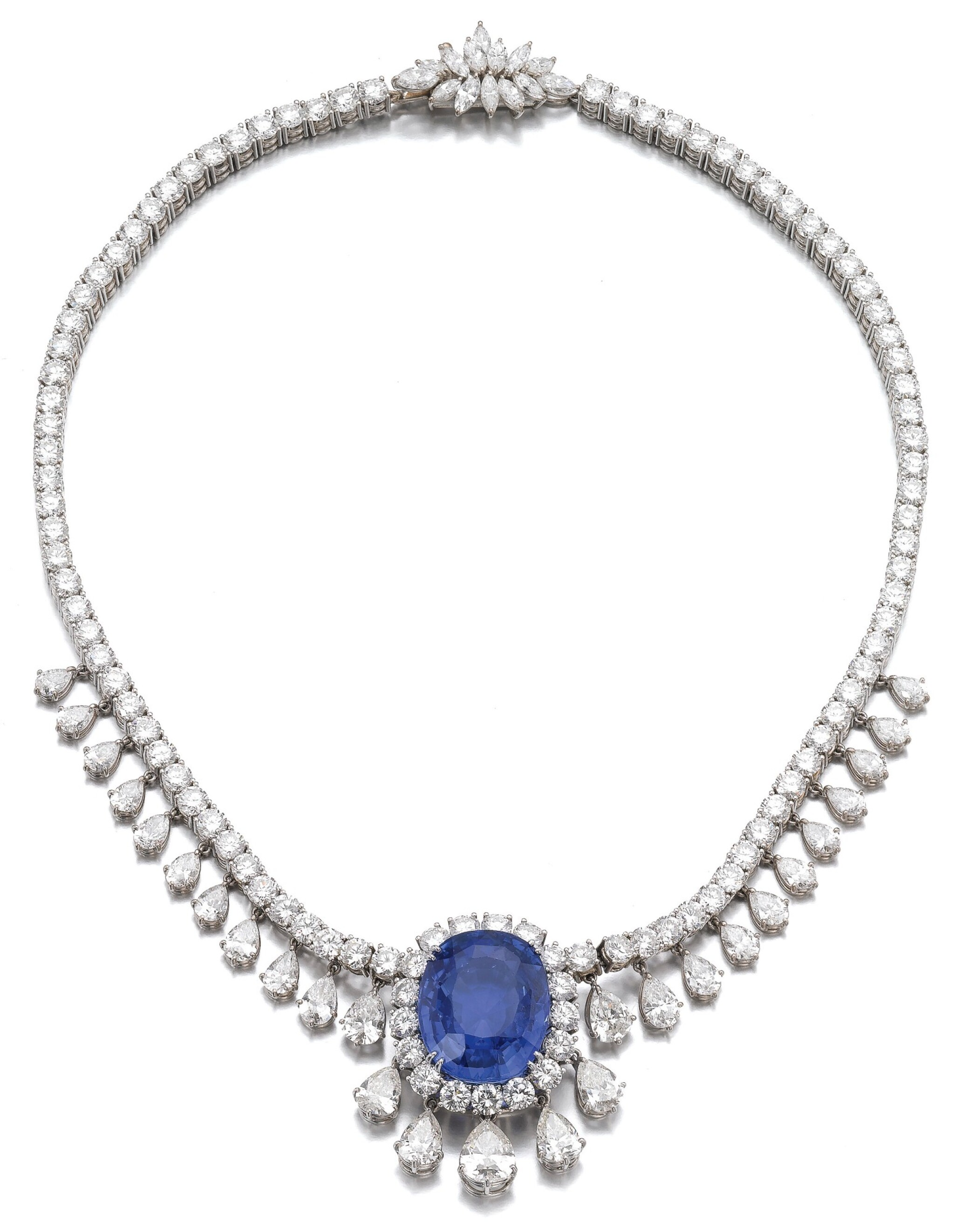 View 1 of Lot 6. SAPPHIRE AND DIAMOND NECKLACE.