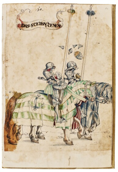 View 10. Thumbnail of Lot 9. WORKSHOP OF HANS BURGKMAIR THE ELDER | A 'TOURNAMENT BOOK', WITH 16 NUMBERED SHEETS OF DRAWINGS OF KNIGHTS, MOSTLY ON HORSEBACK, IN PAIRS .