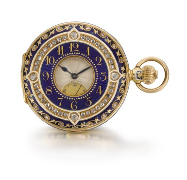 View 2. Thumbnail of Lot 228. WEST END WATCH CO.   A GOLD, ENAMEL AND DIAMOND-SET HALF-HUNTING CASED MINUTE REPEATING CLOCK WATCH MADE FOR THE INDIAN MARKET   CIRCA 1910.