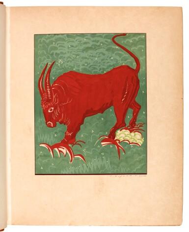 View 1. Thumbnail of Lot 101. Schmied and Kipling. Kim. 1930. 2 volumes. 4to. modern tan morocco.