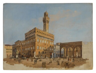 View 1. Thumbnail of Lot 629. GIUSEPPE GHERARDI   A SKETCH OF THE PIAZZA DELLA SIGNORIA, FLORENCE.