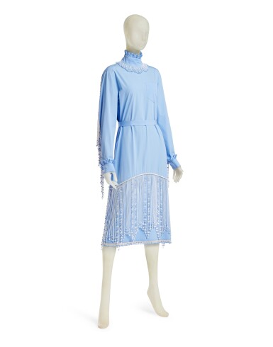 View 2. Thumbnail of Lot 23. PRADA | BEADED FRINGE EMBROIDERY DRESS,  ONE OF A KIND, NOT IN THE SHOW NEITHER IN THE STORES.