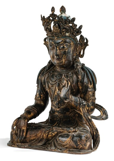View 2. Thumbnail of Lot 182. A LARGE GILT-LACQUERED BRONZE FIGURE OF AVALOKITESHVARA MING DYNASTY, 15TH/16TH CENTURY | 明十五/十六世紀 漆金銅觀音菩薩坐像.