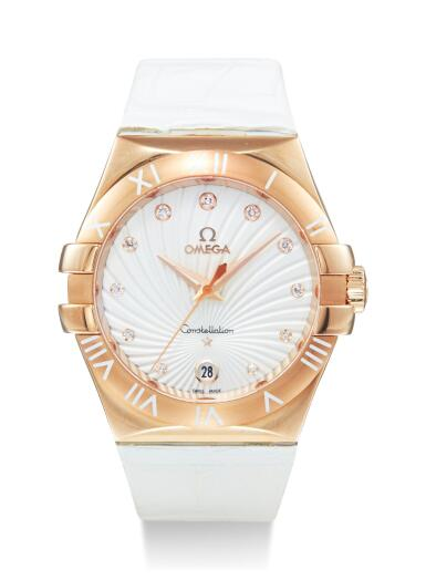 View 1. Thumbnail of Lot 8009. OMEGA   CONSTELLATION, REFERENCE 123.53.35.60.52.001,  A PINK GOLD AND DIAMOND-SET WRISTWATCH WITH DATE, CIRCA 2014.