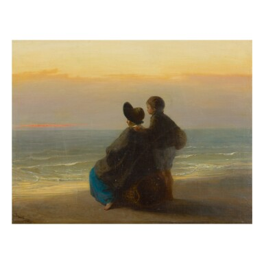 JOZEF ISRAËLS   MOTHER AND CHILD LOOKING OUT TO SEA