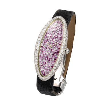 View 2. Thumbnail of Lot 64. Baignoire Allongée, Ref. 2514 A white gold, diamond and pink sapphire-set wristwatch, Circa 2000 | 卡地亞 2514型號「Baignoire Allongée」白金鑲鑽石及粉紅剛玉腕錶,年份約2000.
