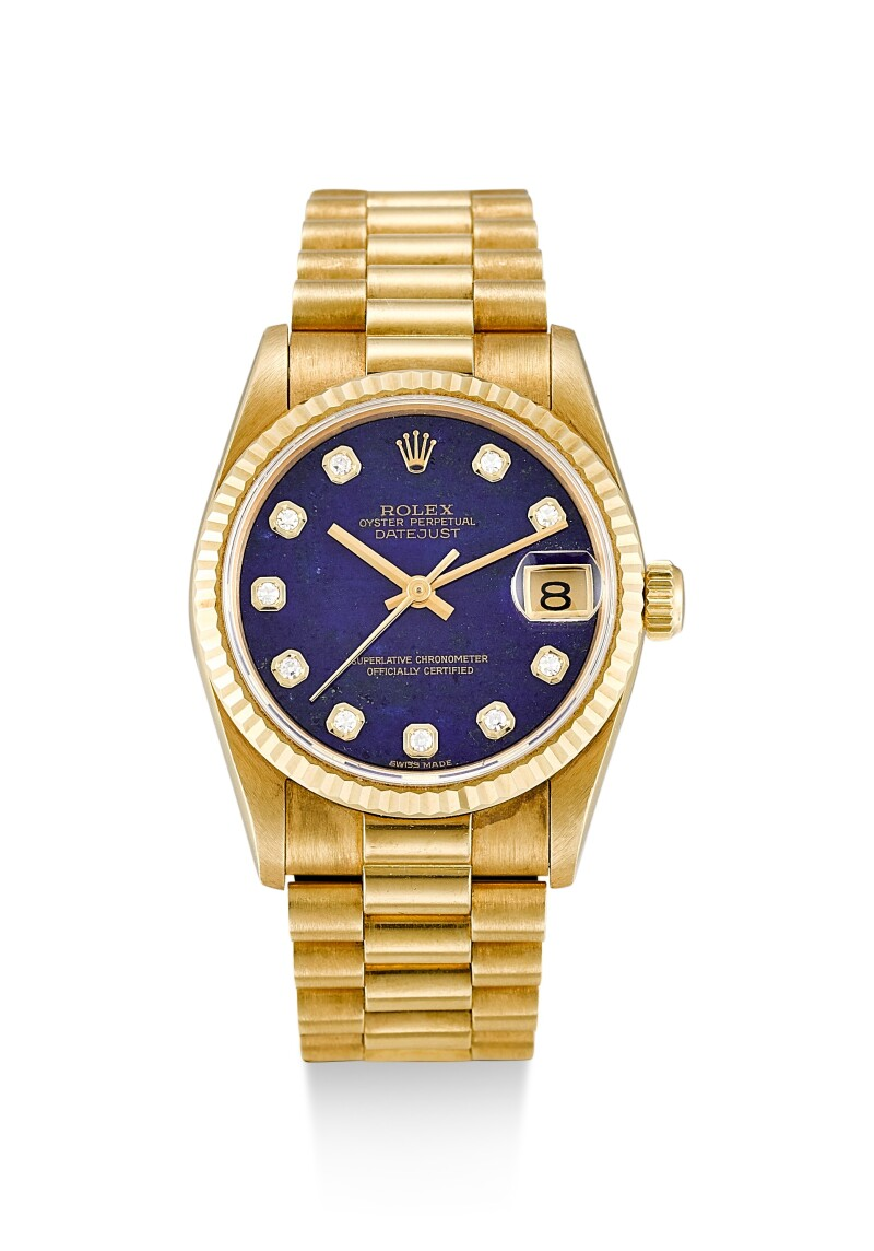 Reference 68278   A Yellow Gold And Diamond-Set Wristwatch With Lapis Lazuli Hardstone Dial And Bracelet, Circa 1995