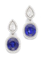 ADLER  |  PAIR OF SAPPHIRE AND DIAMOND EARRINGS