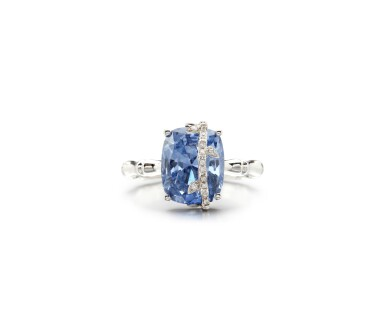 View 1. Thumbnail of Lot 1. SAPPHIRE AND DIAMOND RING.