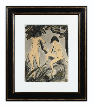 View 2. Thumbnail of Lot 48.  OTTO MÜLLER   ZWEI WEIBLICHE AKTE AM BAUM (TWO NUDES AT A TREE).