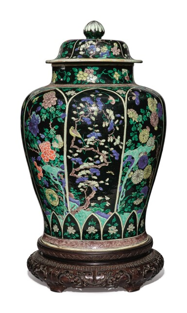 View 2. Thumbnail of Lot 1035. A LARGE FAMILLE-NOIRE 'BIRD AND FLOWER' BALUSTER JAR AND COVER, THE PORCELAIN 18TH CENTURY, THE ENAMELS LATER-ADDED.