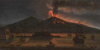 View 1. Thumbnail of Lot 8. TOMMASO RUIZ     VESUVIUS ERUPTING AT NIGHT, MAY 1737             .