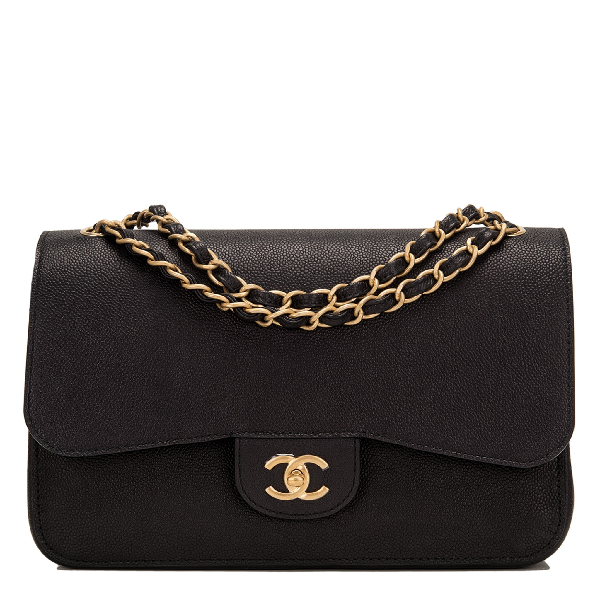 """View full screen - View 1 of Lot 62.  Chanel """"Pure"""" Jumbo Double Flap Bag of Black Caviar Leather with Gold Tone Hardware."""