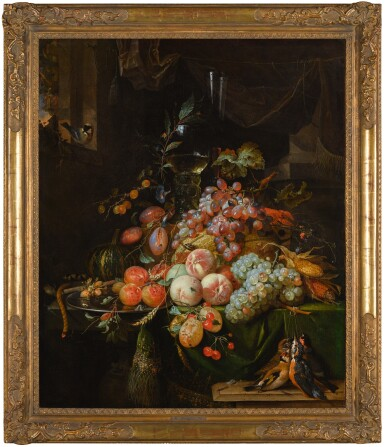 View 2. Thumbnail of Lot 60. ABRAHAM MIGNON  |  STILL LIFE WITH PLUMS, PEACHES, APRICOTS, GRAPES AND A MELON, WITH A ROEMER GLASS AND A FLUTE GLASS, ALL ON A DRAPED TABLE, A GOLDFINCH ON THE WINDOW SILL AND A BRACE OF SONGBIRDS.