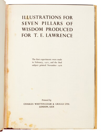 View 1. Thumbnail of Lot 104. LAWRENCE, T.E. | Illustrations for Seven Pillars of Wisdom, [c.1926/27].
