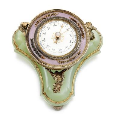 View 3. Thumbnail of Lot 20. A Fabergé silver-gilt guilloché enamel and bowenite barometer, workmaster Henrik Wigström, St Petersburg, 1903.