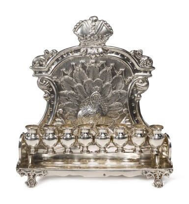 View 1. Thumbnail of Lot 125. AN AUSTRIAN SILVER HANUKAH LAMP, MAKER'S MARK CW PROBABLY FOR CARL WARMUTH JR., VIENNA, EARLY 20TH CENTURY.