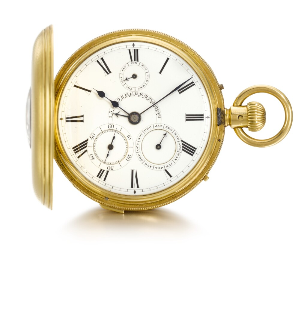 JOHN WALKER, LONDON | A GOLD HALF-HUNTING CASED MINUTE REPEATING KEYLESS POCKET CHRONOMETER WITH CALENDAR, RETROGRADE DATE AND START/STOP SECONDS  1866 NO. 10600