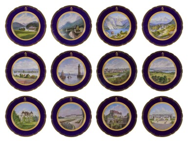 View 1. Thumbnail of Lot 106. An Imperial presentation set of twelve Hutschenreuther porcelain plates, circa 1890.