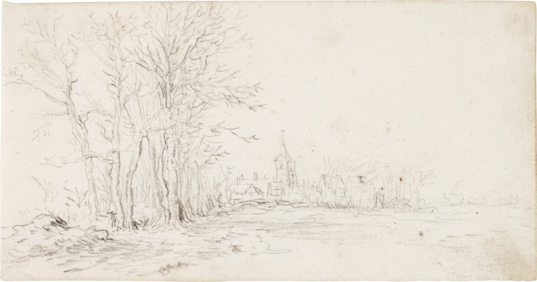 View full screen - View 1 of Lot 218. JAN JOSEFSZ. VAN GOYEN     VIEW ALONG A ROAD TOWARDS A VILLAGE, WITH TREES TO THE LEFT.