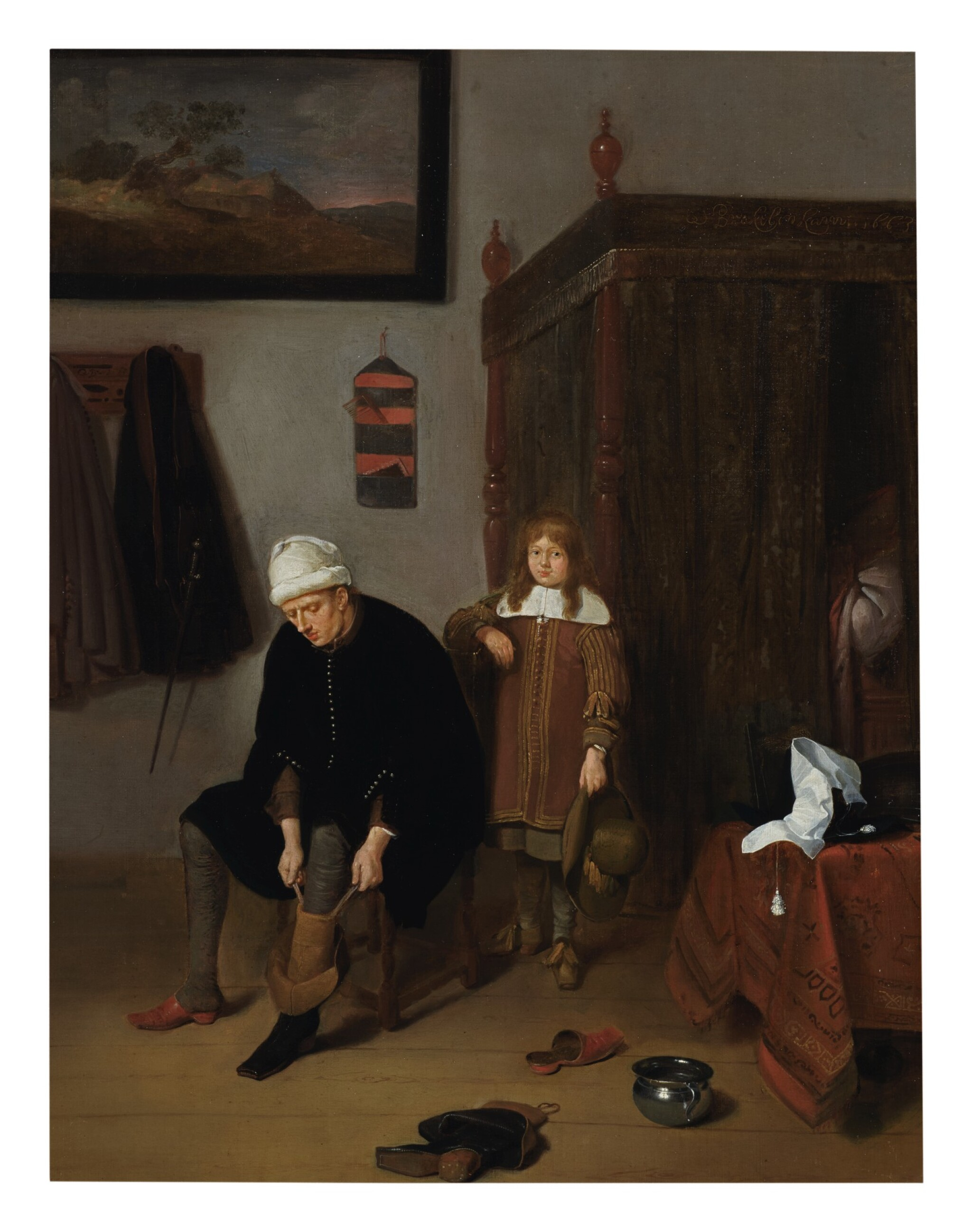 View full screen - View 1 of Lot 123. QUIRINGH GERRITSZ. VAN BREKELENKAM  |  INTERIOR WITH A GENTLEMAN PULLING ON HIS BOOTS, ATTENDED BY A PAGE.
