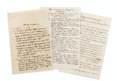 View 1. Thumbnail of Lot 214. TASTU (J.).Lettre et notes autographes signées à F. Moore. Paris, 28 août 1829. 2 et 14 pages in-8..